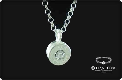 SILVER PENDANT WITH ORIGINAL CASING BULLET AND SWAROVSKI