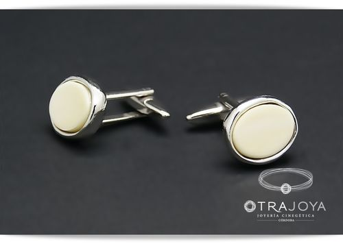 SILVER CUFFLINKS WITH NATURAL IVORY
