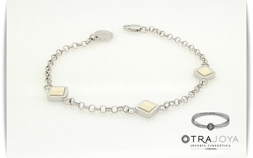 SILVER BRACELET WITH NATURAL IVORY PIECES