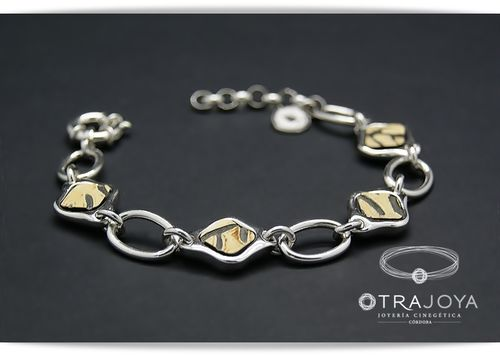 SILVER BRACELET WITH NATURAL BUFFALO PIECES