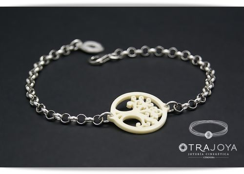 SILVER BRACELET WITH IVORY TREE OF LIFE