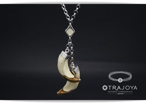 WILD BOAR TUSKS PENDANT WITH IVORY