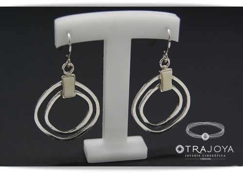 Silver earrings with ivory inlay