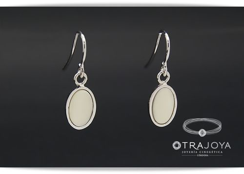Silver earrings with natural ivory inlay