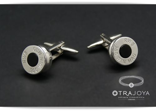 BULLET CASING TOP CUFFLINKS WITH ONIX